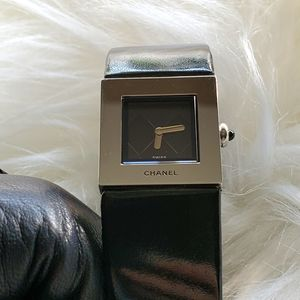 Authentic Chanel Black & Silver Watch Leather Band